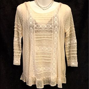 Free People Sheer Mesh Tunic w Embroidery, Small